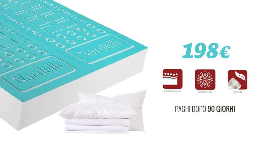 Offerta materassi matrimoniali con cuscini e lenzuola a 198€